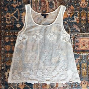AEO Sheer Embroidered Mesh Lace Tank Top